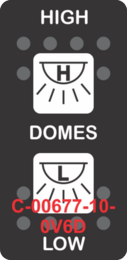 """""""HIGH DOMES LOW""""  Black Switch Cap dual White Lens ON-OFF-ON"""