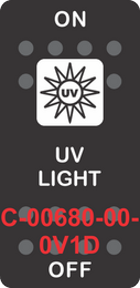 """""""UV LIGHT"""" Black Switch Cap SIngle White Lens ON-OFF"""