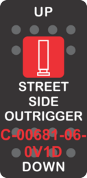"""""""STREET SIDE OUTRIGGER"""" Black Switch Cap single Red Len's, ON-OFF"""