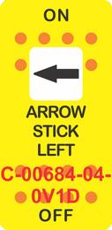 """ARROW STICK LEFT"" Yellow Switch Cap single White Len's, ON-OFF"