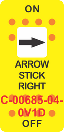 """ARROW STICK RIGHT"" Yellow Switch Cap single White Len's, ON-OFF"