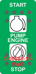 """""""PUMP ENGINE""""  Green Switch Cap dual White Lens ON-OFF-ON"""