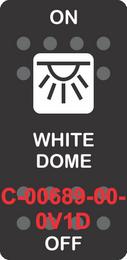 """WHITE DOME"" Black Switch Cap SIngle White Lens ON-OFF"