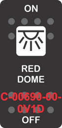 """""""RED DOME"""" Black Switch Cap SIngle White Lens ON-OFF"""