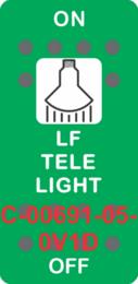 """LF TELE LIGHT"" Green Switch Cap SIngle White Lens ON-OFF"