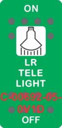 """""""LR TELE LIGHT"""" Green Switch Cap SIngle White Lens ON-OFF"""
