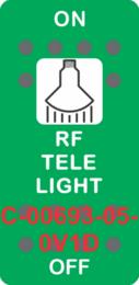 """""""RF TELE LIGHT"""" Green Switch Cap SIngle White Lens ON-OFF"""