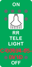 """""""RR TELE LIGHT"""" Green Switch Cap SIngle White Lens ON-OFF"""