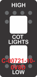 """HIGH COT LIGHTS LOW""  Black Switch Cap dual White Lens  (ON)-OFF-(ON)"