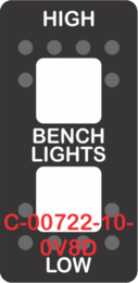 """HIGH BENCH LIGHTS LOW""  Black Switch Cap dual White Lens  (ON)-OFF-(ON)"