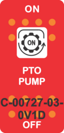"""PTO PUMP"" Red Switch Cap Single White Lens ON-OFF"