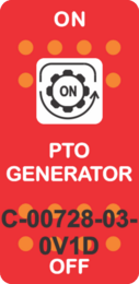 """PTO GENERATOR"" Red Switch Cap Single White Lens ON-OFF"