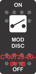 """MOD DISC"" Black Switch Cap Single White Lens ON-OFF"