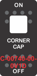 """CORNER CAP"" Black Switch Cap Single White Lens ON-OFF"