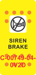 """SIREN BRAKE"" Yellow Switch Cap Single White Lens (ON)-OFF"