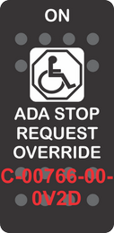 """ADA STOP REQUEST OVERRIDE"" Black Switch Cap Single White Lens (ON)-OFF"