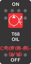 """T68 OIL"" Black Switch Cap Single Red Lens ON-OFF"