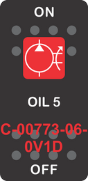 """OIL 5""  Black Switch Cap Single Red Lens ON-OFF"