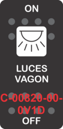 """LUCES VAGON""  Black Switch Cap single White Lens ON-OFF"