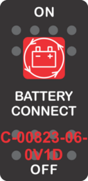 """BATTERY CONNECT"" Black Switch Cap Single Red Lens ON-OFF"