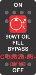 """90WT OIL FILL BYPASS""  Black Switch Cap single Red Lens ON-OFF"