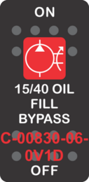 """15/40 OIL FILL BYPASS""  Black Switch Cap single Red Lens ON-OFF"