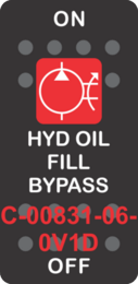 """HYD OIL FILL BYPASS""  Black Switch Cap single Red Lens ON-OFF"