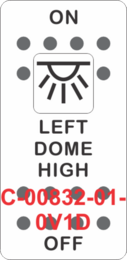 """LEFT DOME HIGH""  White Switch Cap single White Lens ON-OFF"
