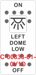 """""""LEFT DOME LOW""""  White Switch Cap single White Lens ON-OFF"""