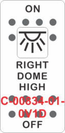 """RIGHT DOME HIGH""  White Switch Cap single White Lens ON-OFF"