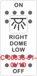 """RIGHT DOME LOW""  White Switch Cap single White Lens ON-OFF"