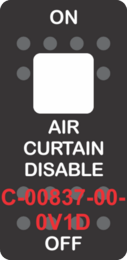 """""""AIR CURTAIN DISABLE""""  Black Switch Cap single White Lens ON-OFF"""