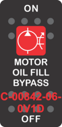 """""""MOTOR OIL FILL BYPASS"""" Black Switch Cap Single Red Lens ON-OFF"""