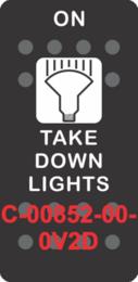 """TAKE DOWN LIGHTS""  Black Switch Cap single White Lens (ON)-OFF"