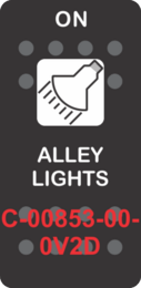 """""""ALLEY LIGHTS""""  Black Switch Cap single White Lens (ON)-OFF"""