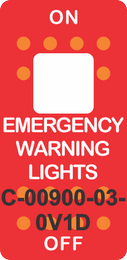 """""""EMERGENCY WARNING LIGHTS""""  Red Switch Cap single White Lens ON-OFF"""
