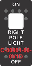 """RIGHT POLE LIGHT""  Black Switch Cap single White Lens ON-OFF"